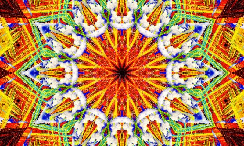 Extremely colorful mandala Art royalty free illustration