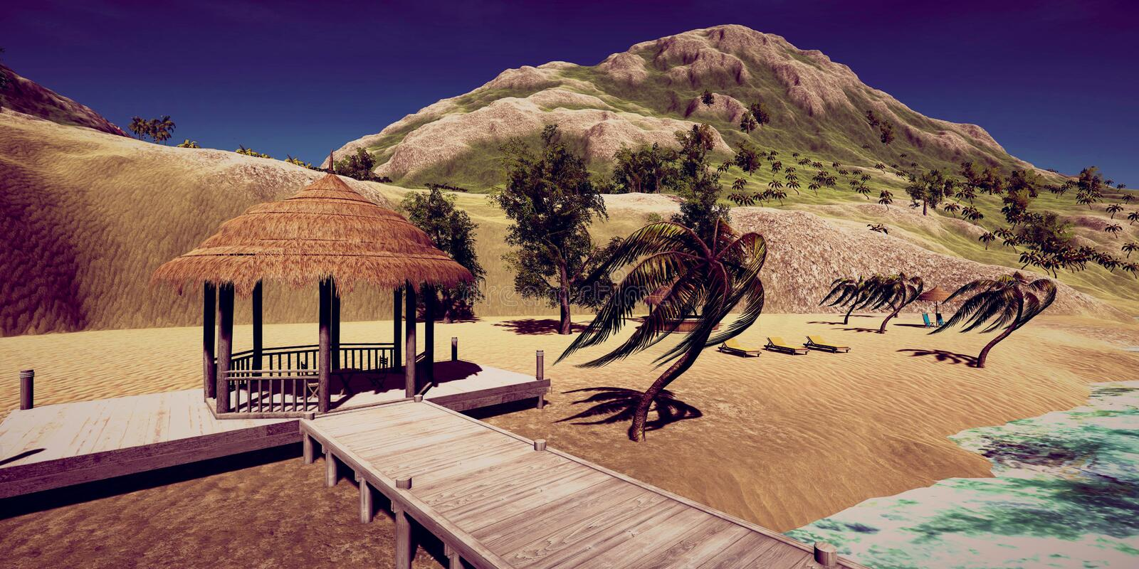 Extremely detailed and realistc high resolution 3D illustration of a luxury vacation at a tropcial Island. Extremely detailed and realistc high resolution 3D royalty free stock image