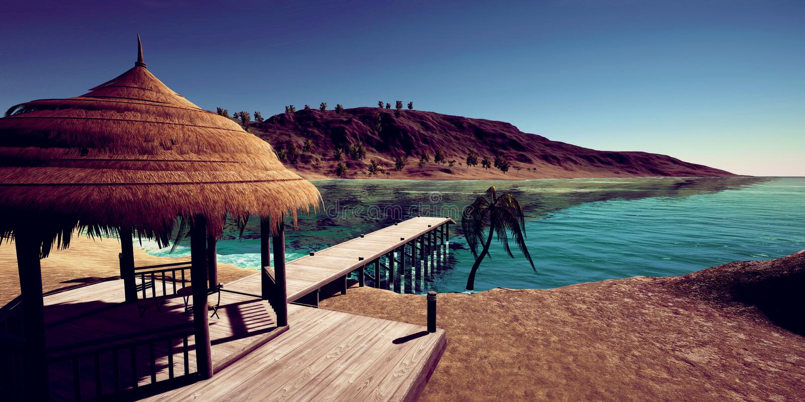Extremely detailed and realistc high resolution 3D illustration of luxury vacation at a tropcial Island. Extremely detailed and realistc high resolution 3D image stock photos