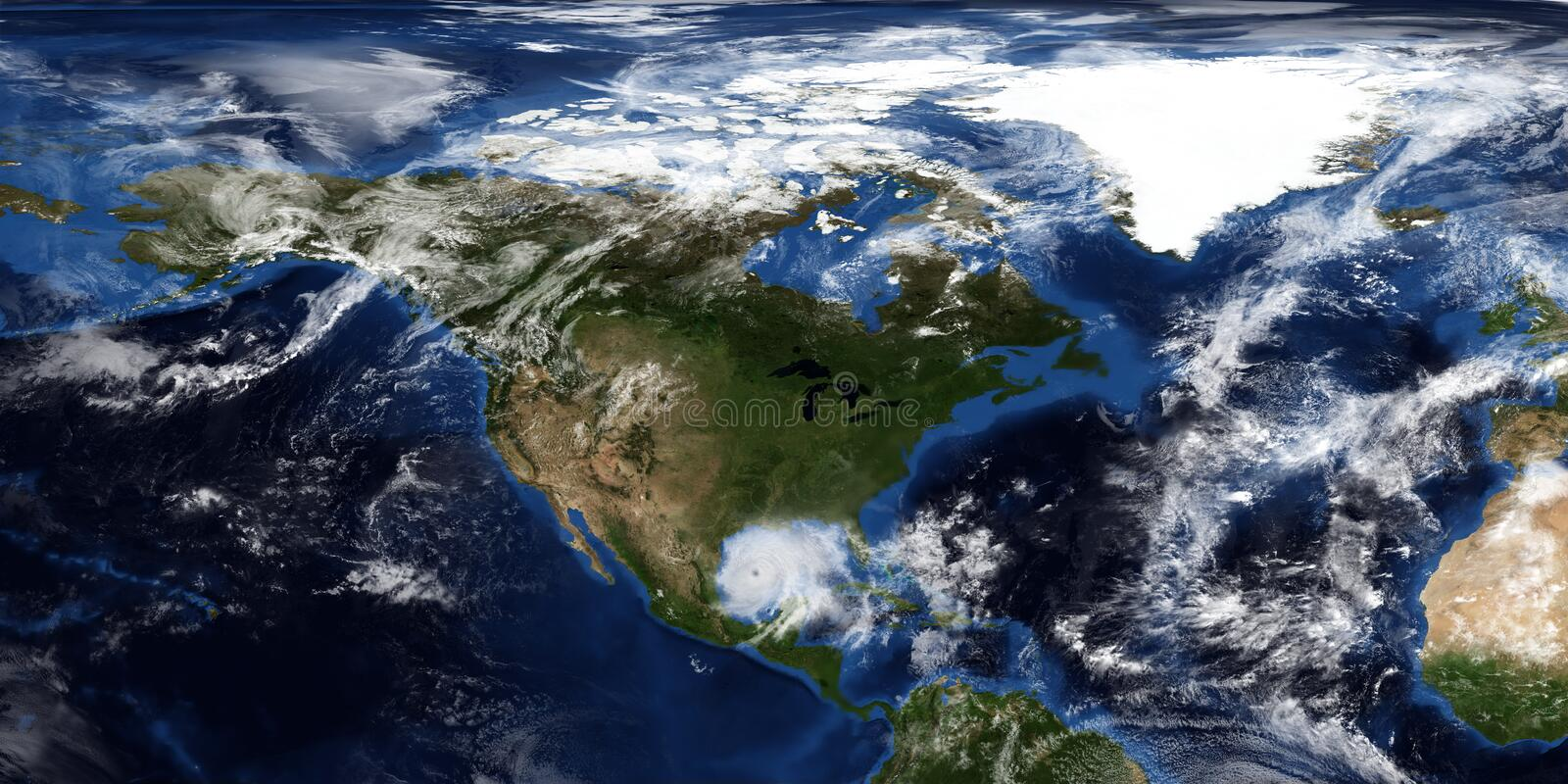 Extremely detailed and realistic 3D illustration of a Hurricane approaching North America. Shot from Space. Elements of this image. Are furnished by NASA stock photos