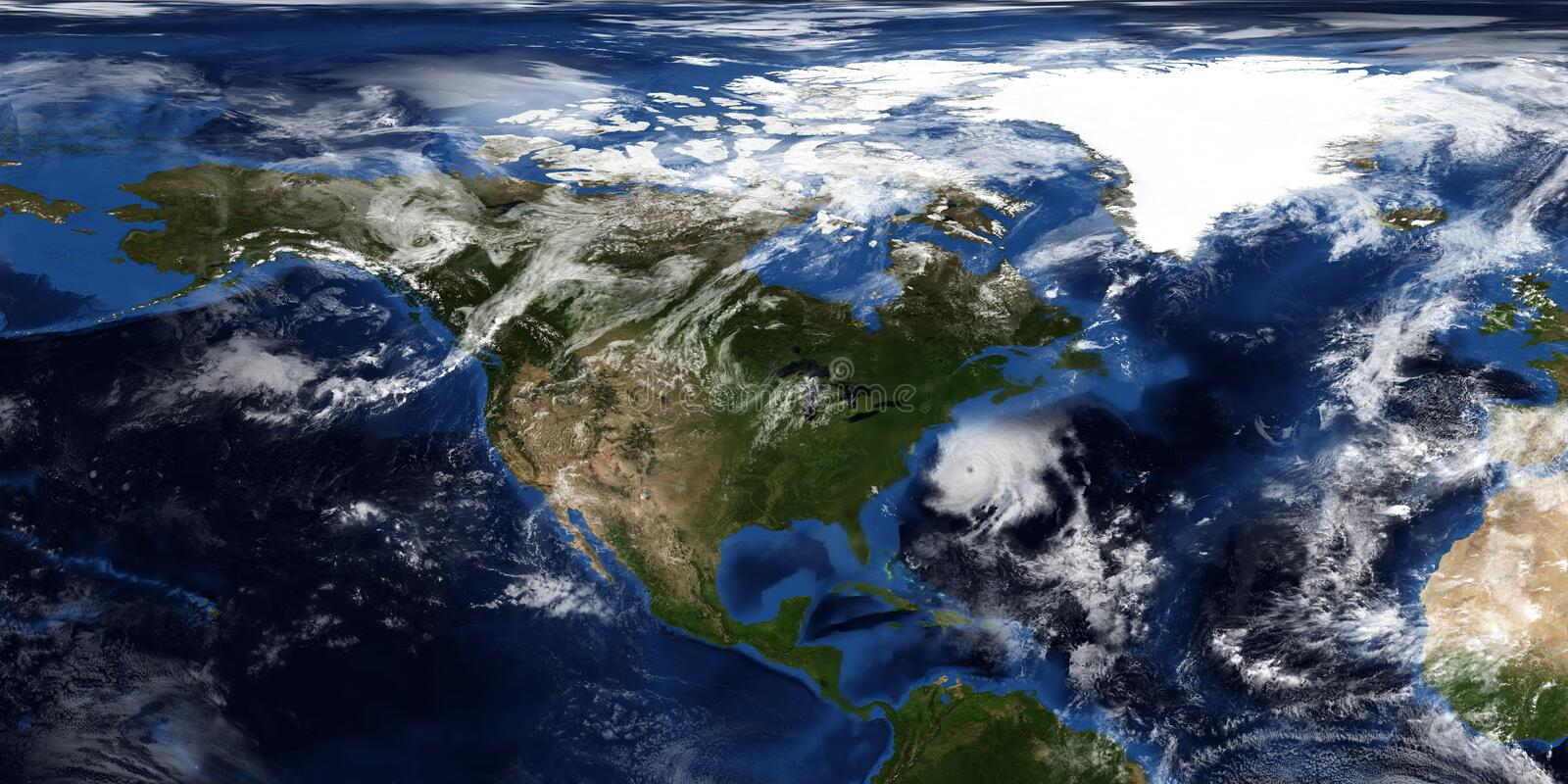 Extremely detailed and realistic 3D illustration of a Hurricane approaching North America. Shot from Space. Elements of this image. Are furnished by NASA stock photo