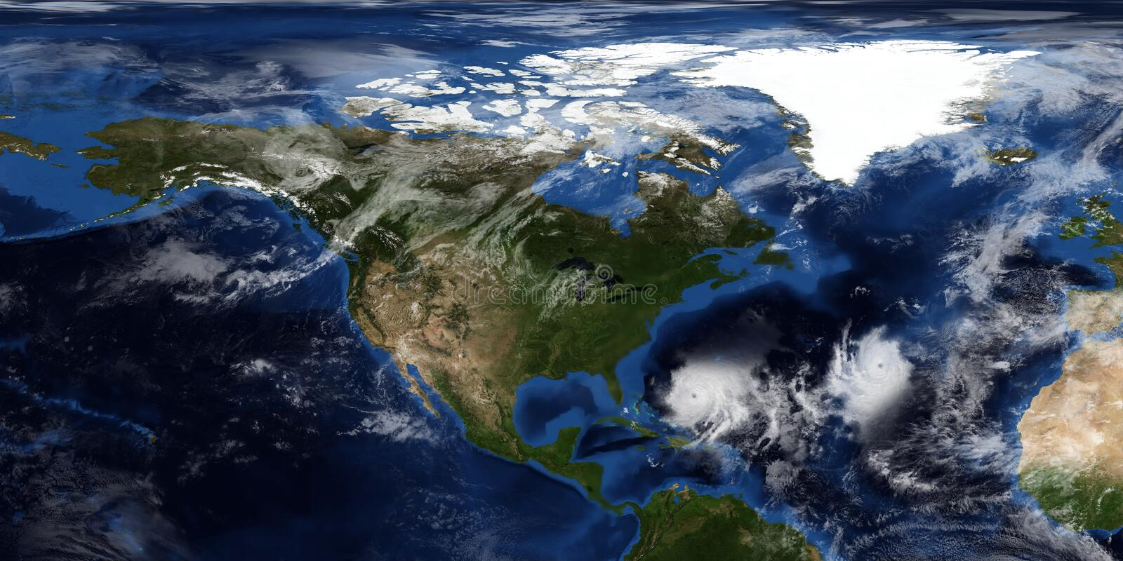 Extremely detailed and realistic 3D illustration of a Hurricane approaching North America. Shot from Space. Elements of this image. Are furnished by NASA royalty free stock photography