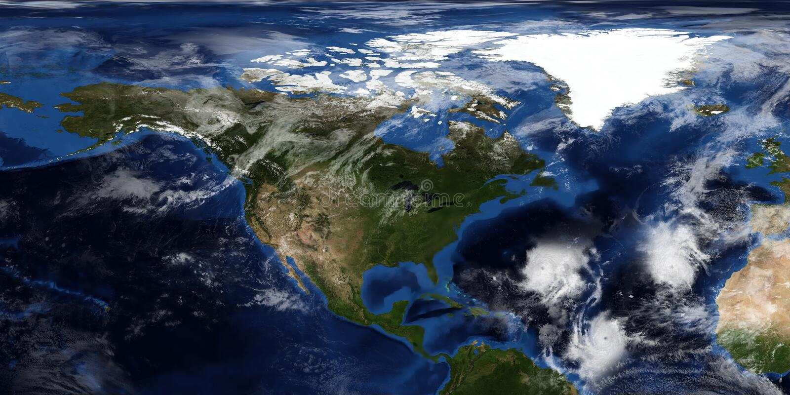 Extremely detailed and realistic 3D illustration of a Hurricane approaching North America. Shot from Space. Elements of this image. Are furnished by NASA stock image