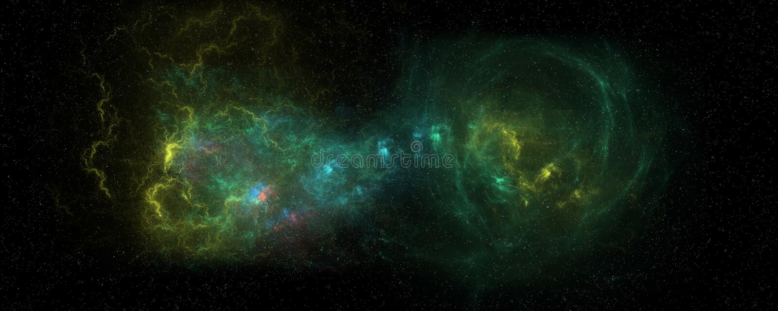 Extremely detailed and realistic high resolution illustration of two merging galaxies. Shot from Space. Extremely detailed and realistic high resolution concept stock illustration