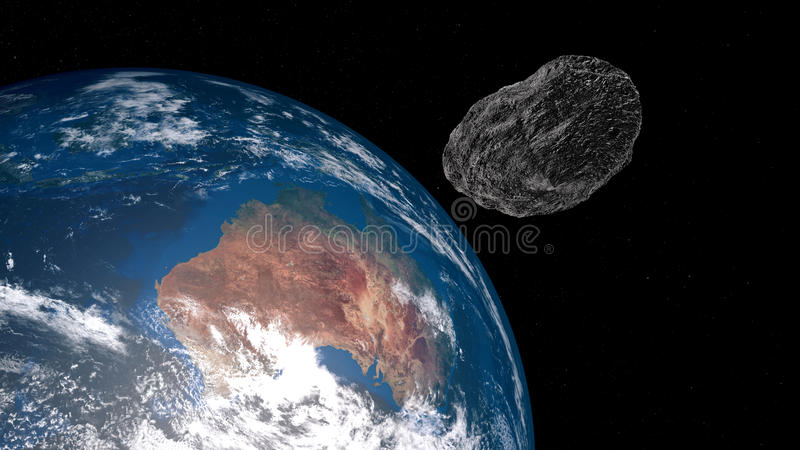 Extremely detailed and realistic high resolution 3D illustration of an asteroid approaching Australia. Shot from space royalty free illustration