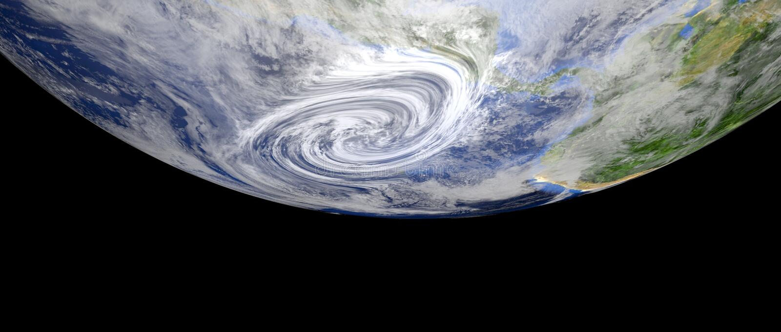 Extremely detailed and realistic high resolution 3d illustration of a hurricane approaching central america. Shot from space. stock illustration