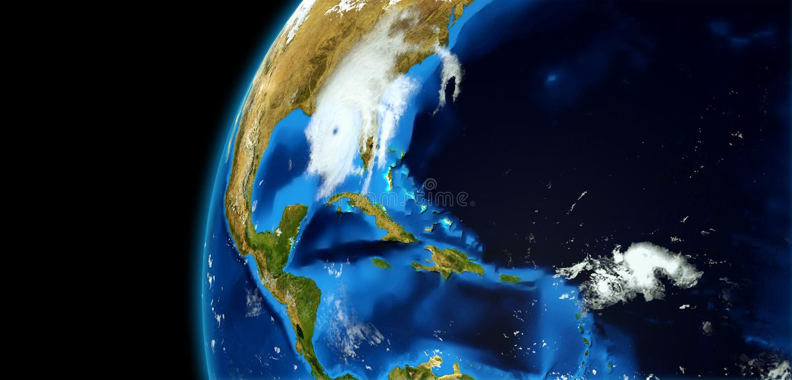 Extremely detailed and realistic high resolution 3D illustration of a Hurricane. Shot from Space. Elements of this image are furni. Extremely detailed and stock photos
