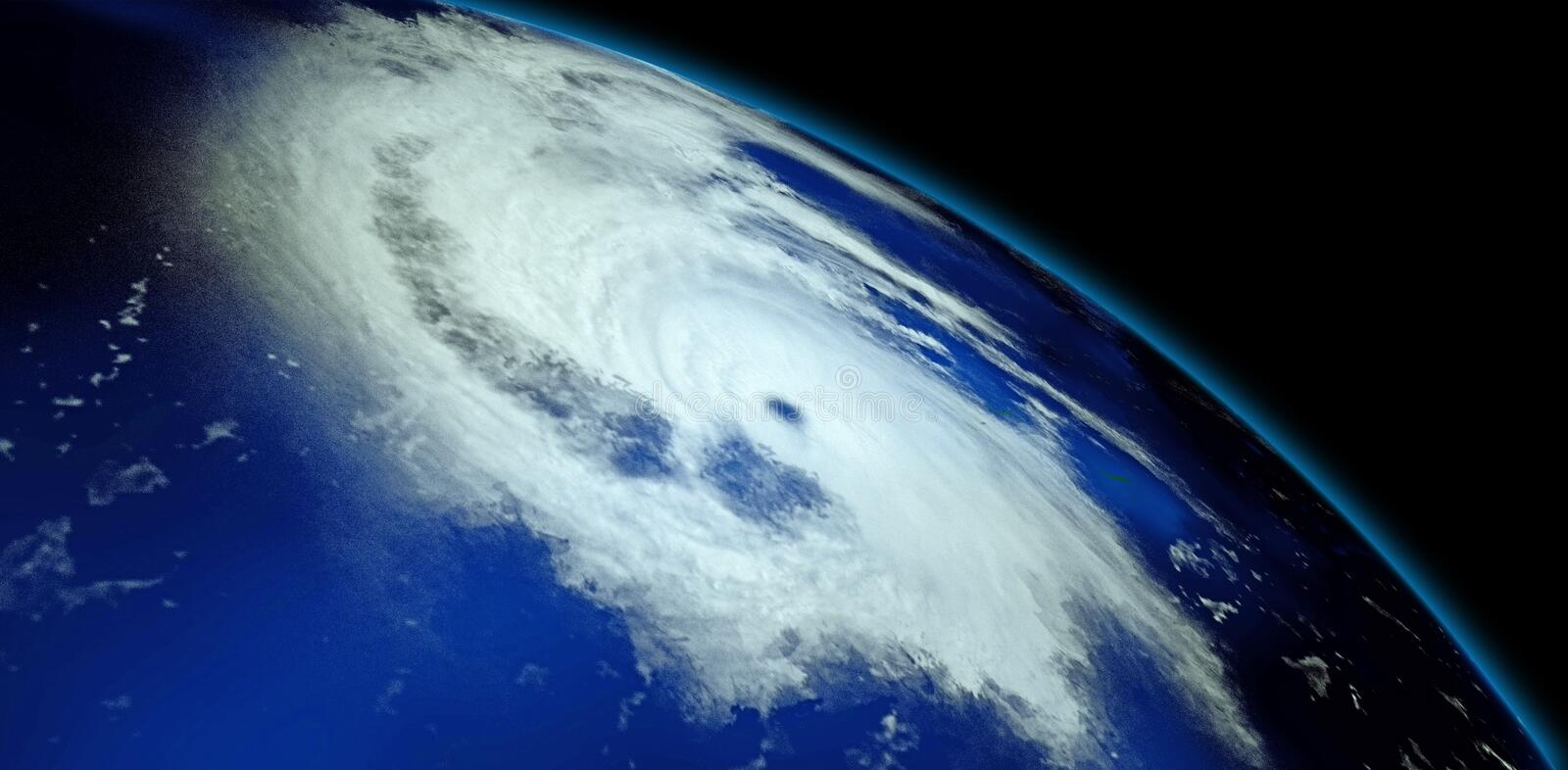 Extremely detailed and realistic high resolution 3D illustration of a Hurricane. Shot from Space. Elements of this image are furni. Extremely detailed and royalty free stock photo