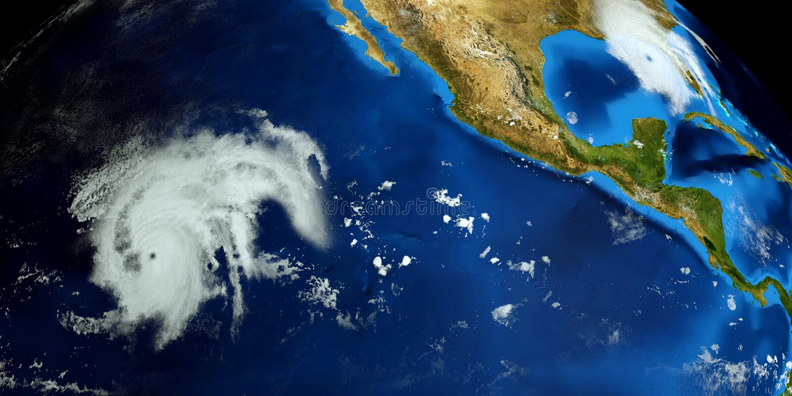 Extremely detailed and realistic high resolution 3D illustration of a Hurricane. Shot from Space. Elements of this image are furni. Extremely detailed and royalty free stock photos