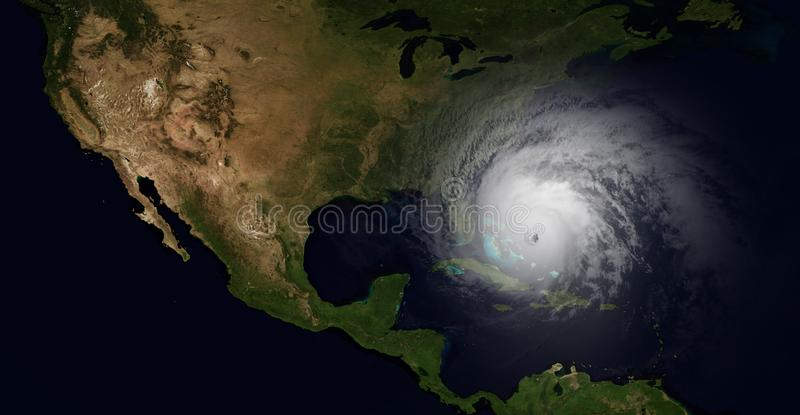 Extremely detailed and realistic high resolution 3d illustration of a hurricane slamming into Florida. Shot from Space. royalty free illustration