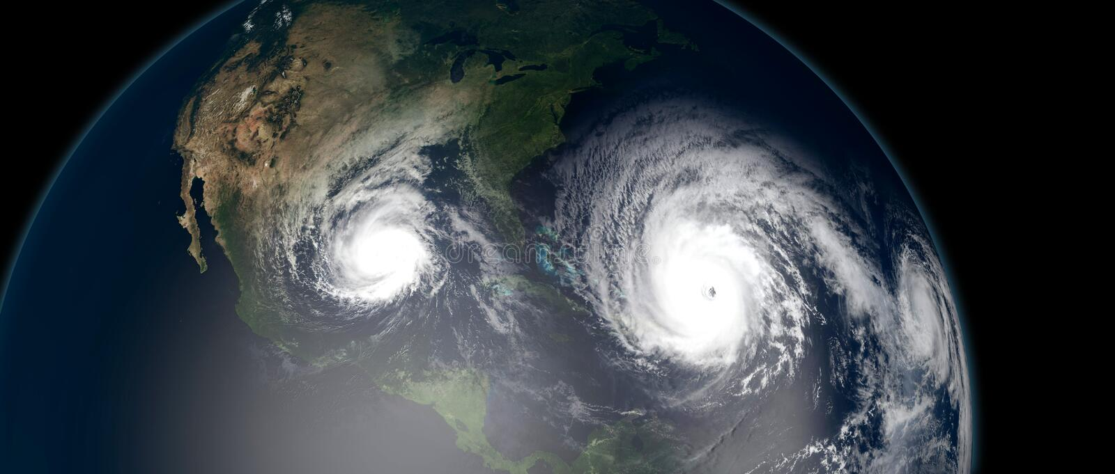 Extremely detailed and realistic high resolution 3d illustration of 3 hurricanes approaching the Caribbean Islands and Florida. royalty free illustration
