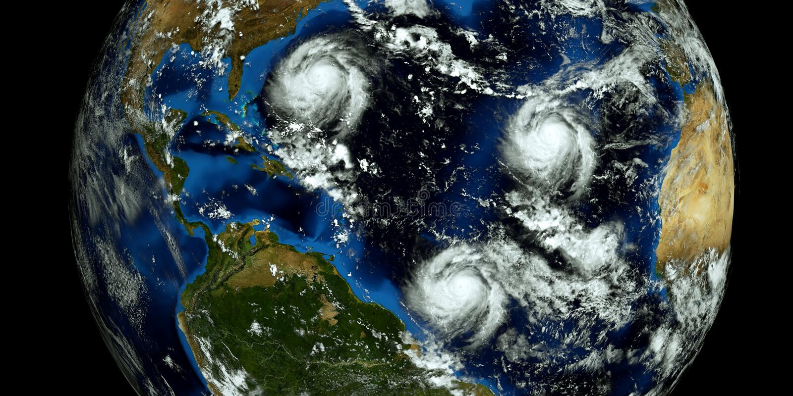 Extremely detailed and realistic high resolution 3D illustration of 2 hurricanes approaching the USA. Shot from Space. Elements of. This image are furnished by royalty free stock photography
