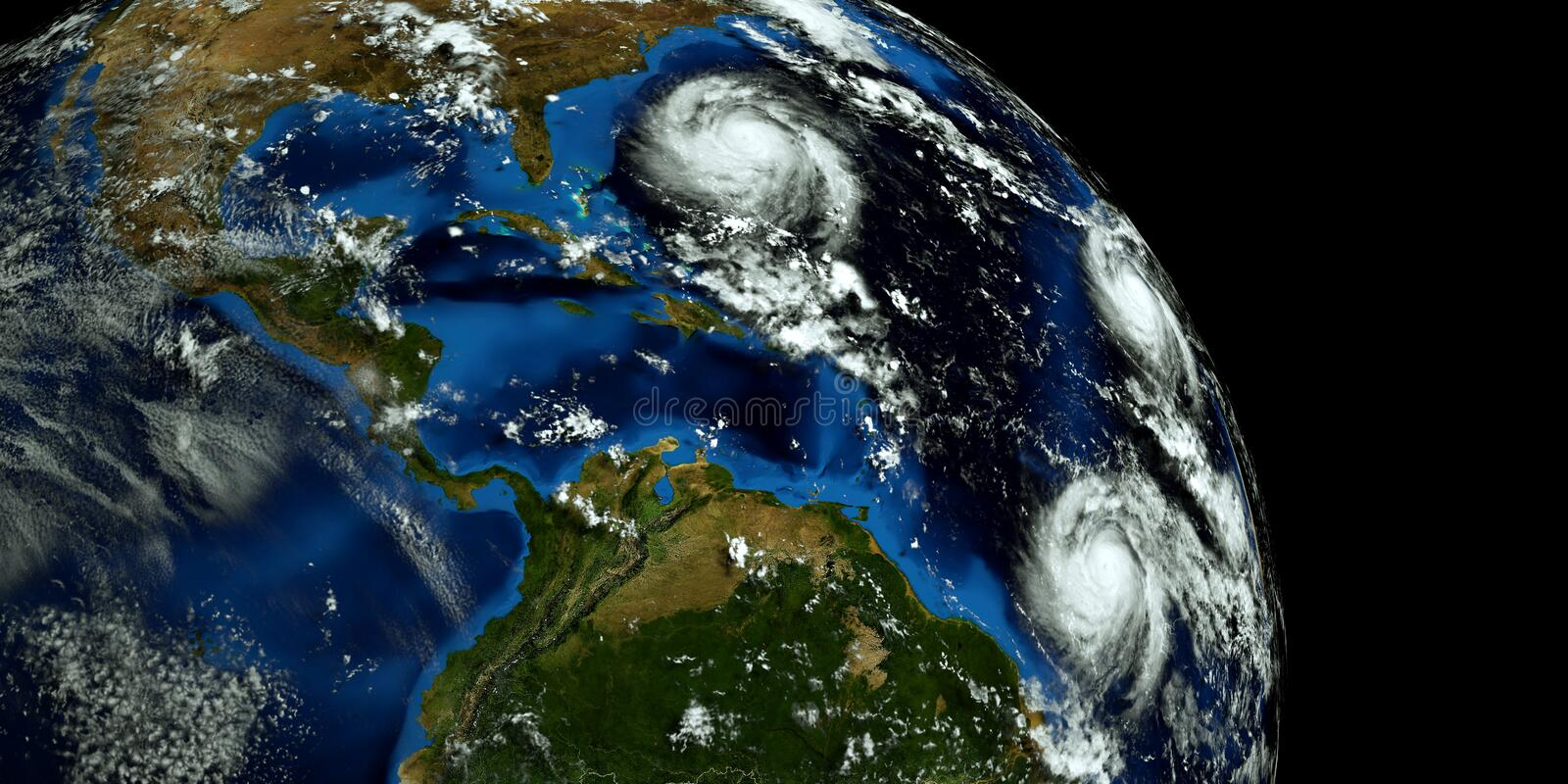Extremely detailed and realistic high resolution 3D illustration of 2 hurricanes approaching the USA. Shot from Space. Elements of. This image are furnished by stock photo