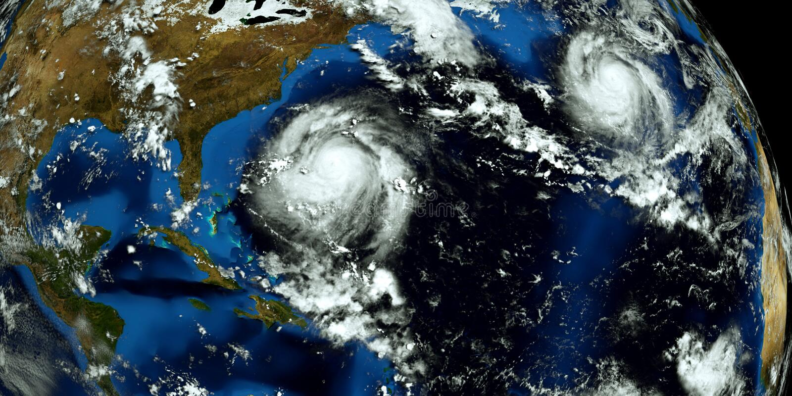 Extremely detailed and realistic high resolution 3D illustration of 2 hurricanes approaching the USA. Shot from Space. Elements of. This image are furnished by stock image