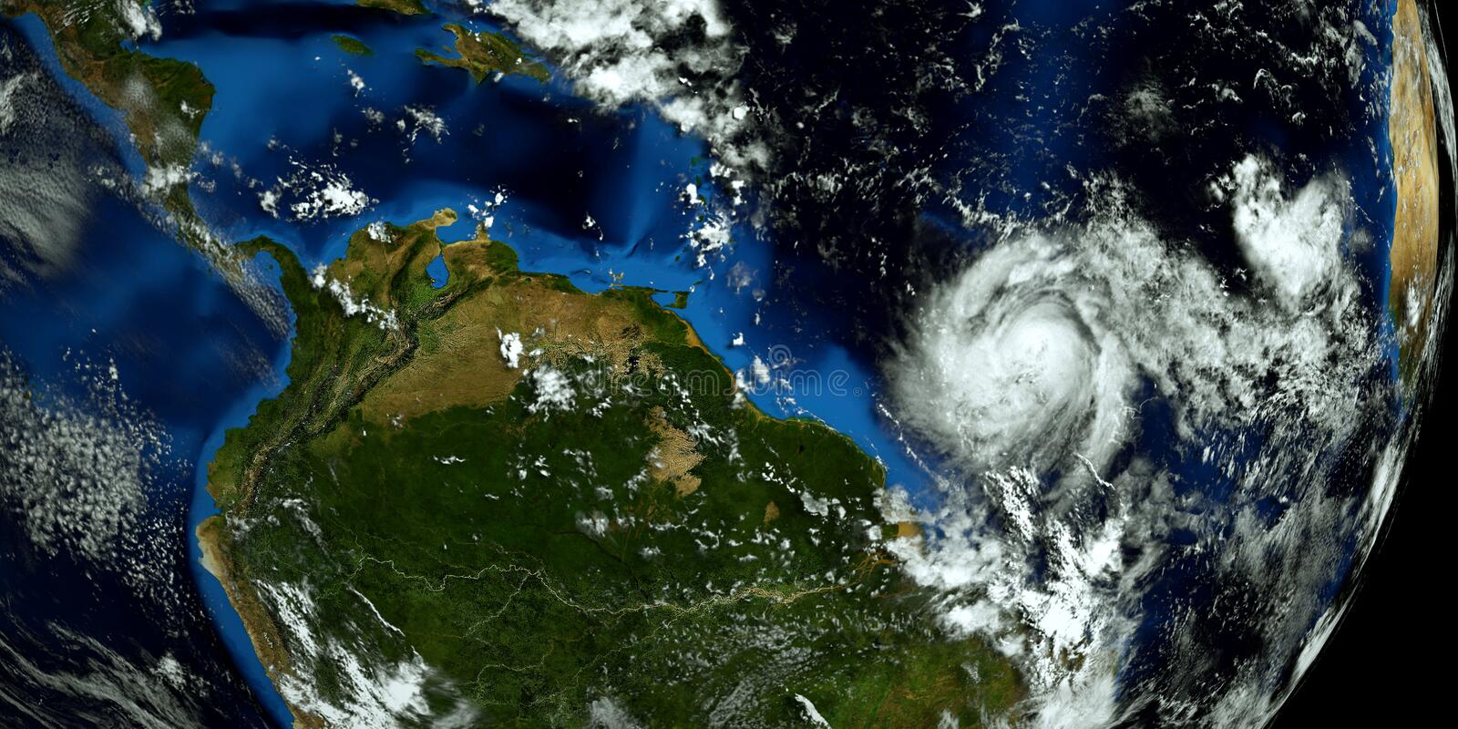 Extremely detailed and realistic high resolution 3D illustration of 2 hurricanes approaching the USA. Shot from Space. Elements of. This image are furnished by stock images