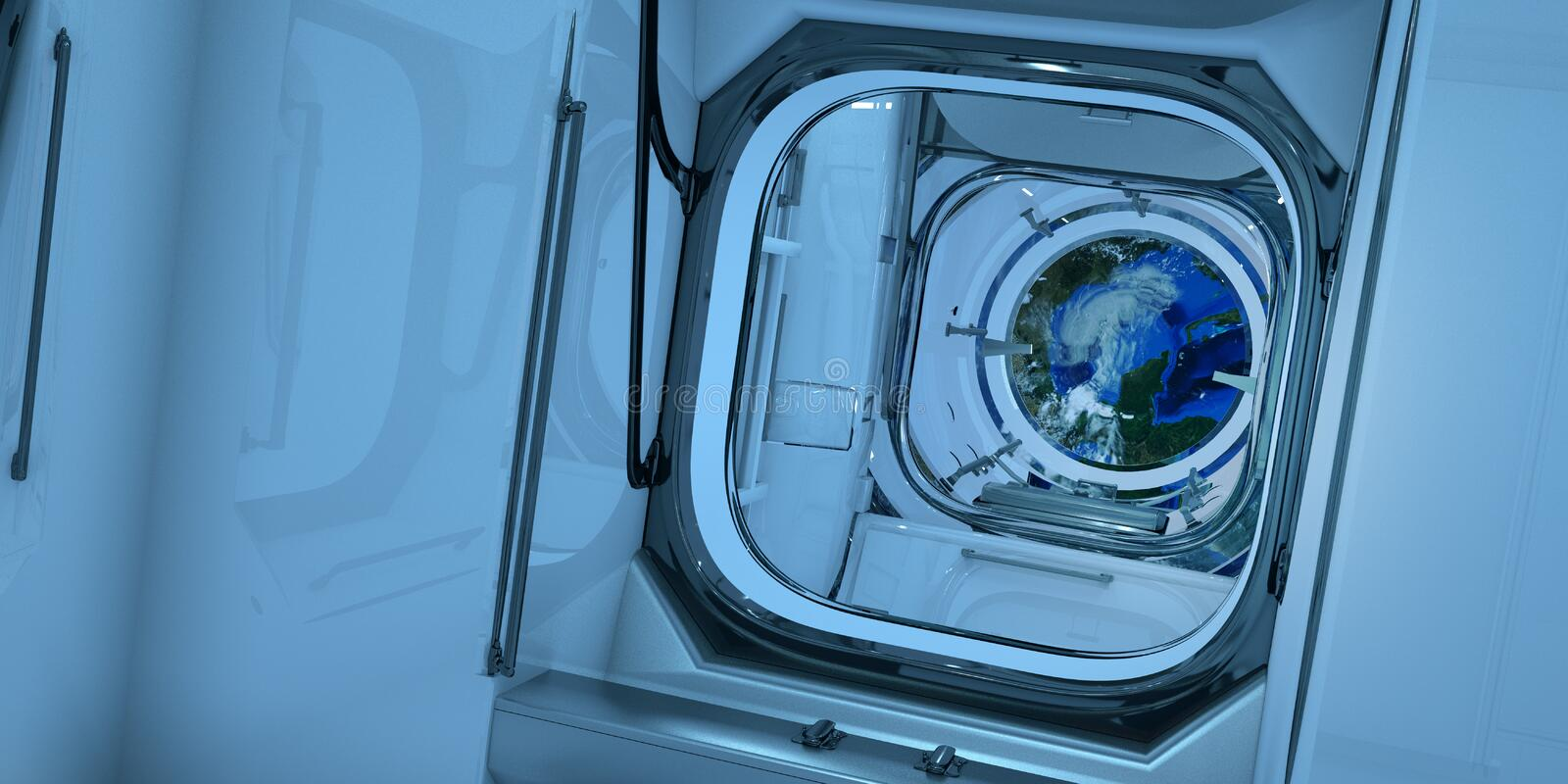 Extremely detailed and realistic high resolution 3D illustration of a the interior of ISS International Space Station. Orbiting planet Earth while a Hurricane royalty free stock photography