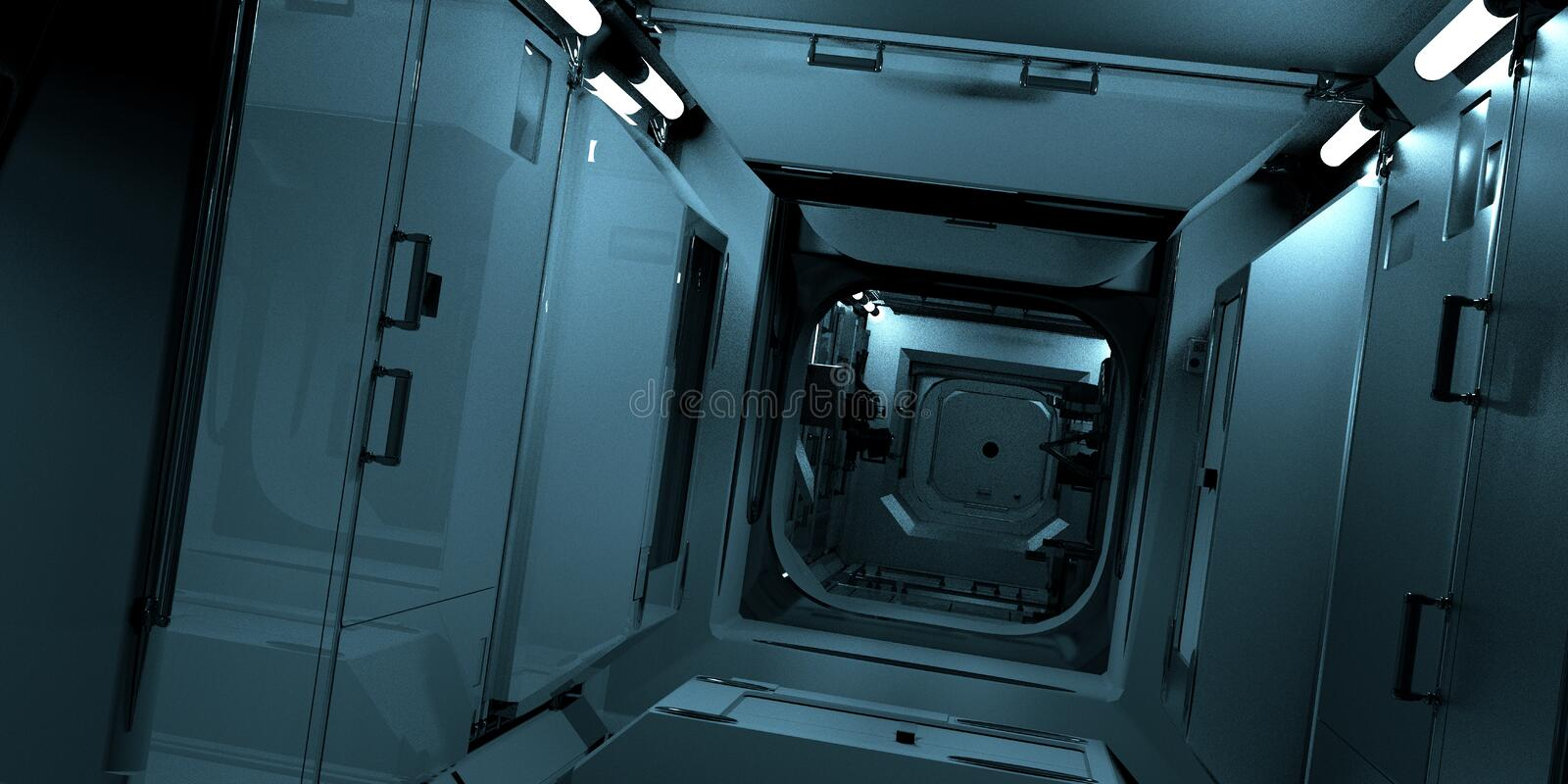 Extremely detailed and realistic high resolution 3D illustration of the ISS - International Space Station Interior. royalty free illustration