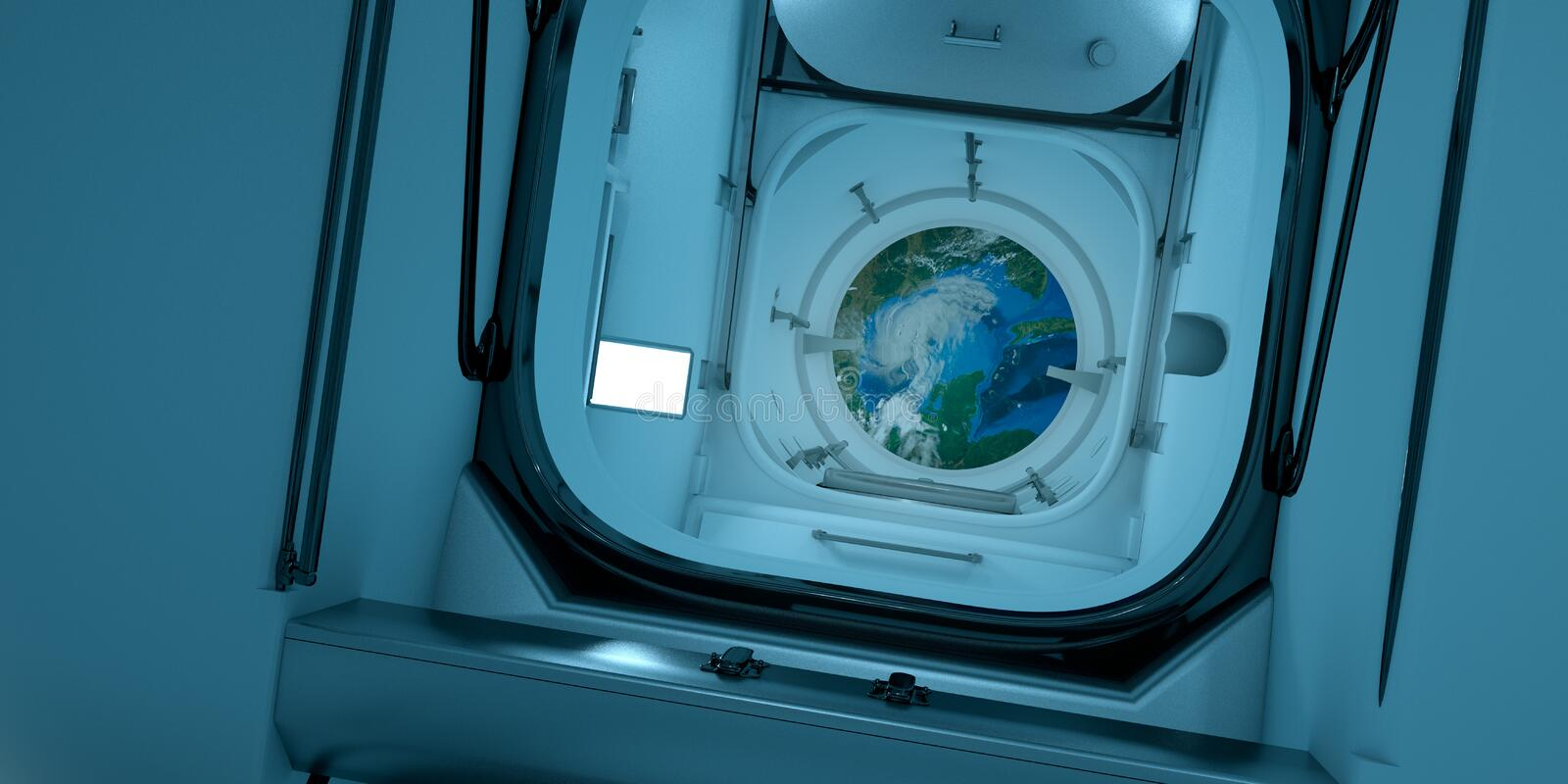Extremely detailed and realistic high resolution 3D illustration of the ISS - International Space Station Interior. vector illustration
