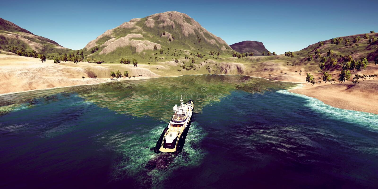 Extremely detailed and realistic high resolution 3D illustration of a luxury Super Yacht at a tropical Island. Extremely detailed and realistic high resolution stock images