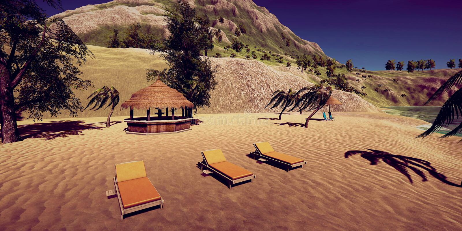 Extremely detailed and realistic high resolution 3D illustration of a luxury vacation at a tropical Island. Extremely detailed and realistic high resolution 3D stock photo
