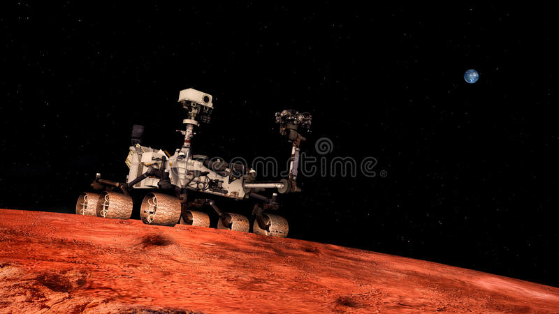 Extremely detailed and realistic high resolution 3D illustration a Space Exploration Vehicle on Mars. Shot from space vector illustration