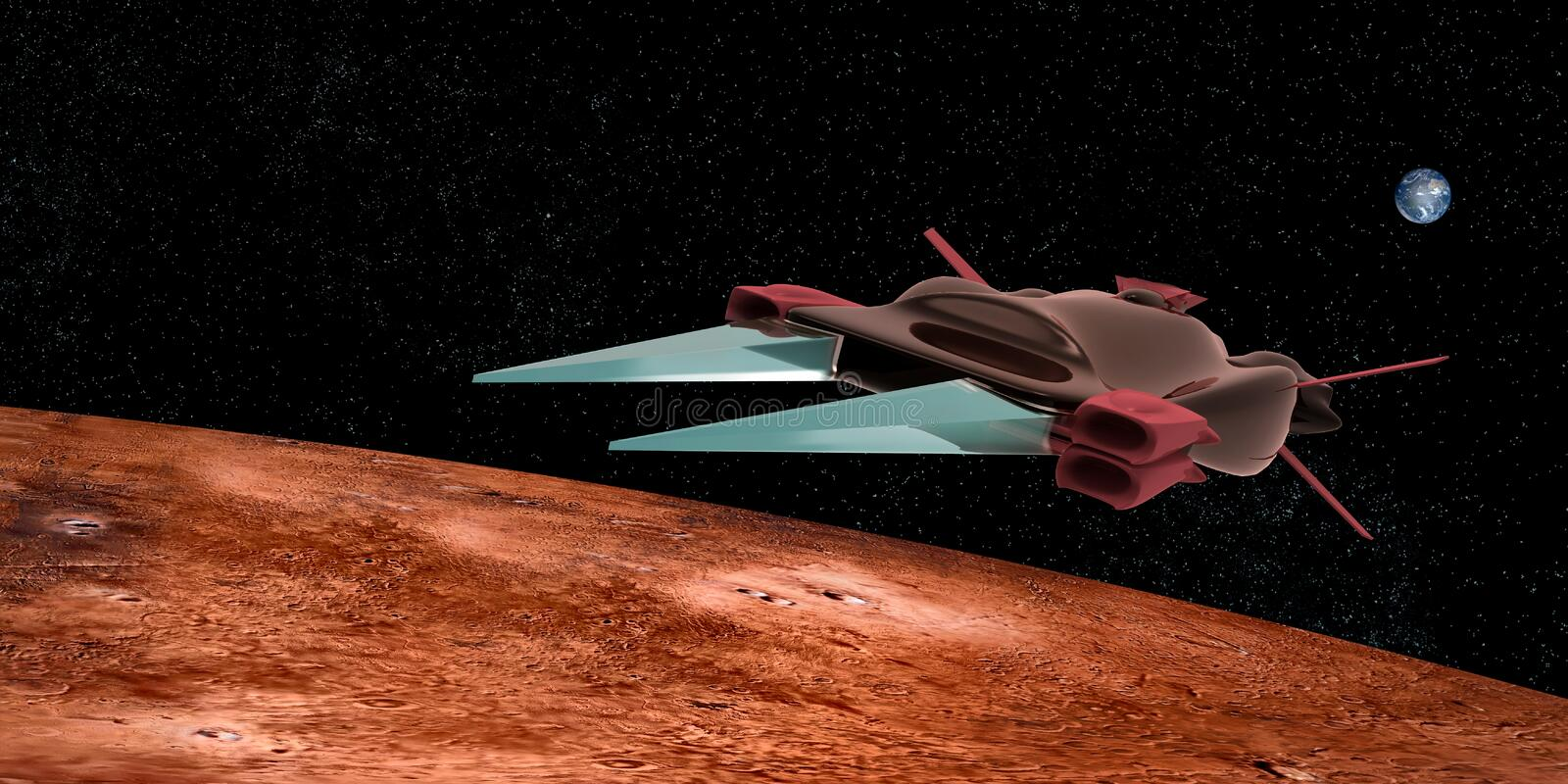 Extremely detailed and realistic high resolution 3D illustration of a space ship flying above Mars. stock illustration