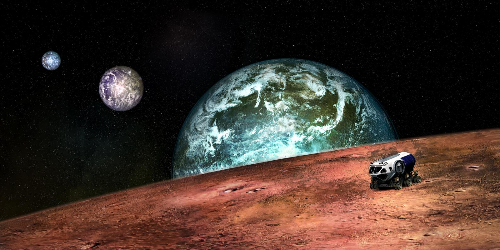 Extremely detailed and realistic high resolution 3D image of a an Exoplanet with a Space Exploration Vehicle. Shot from outer spac stock photography