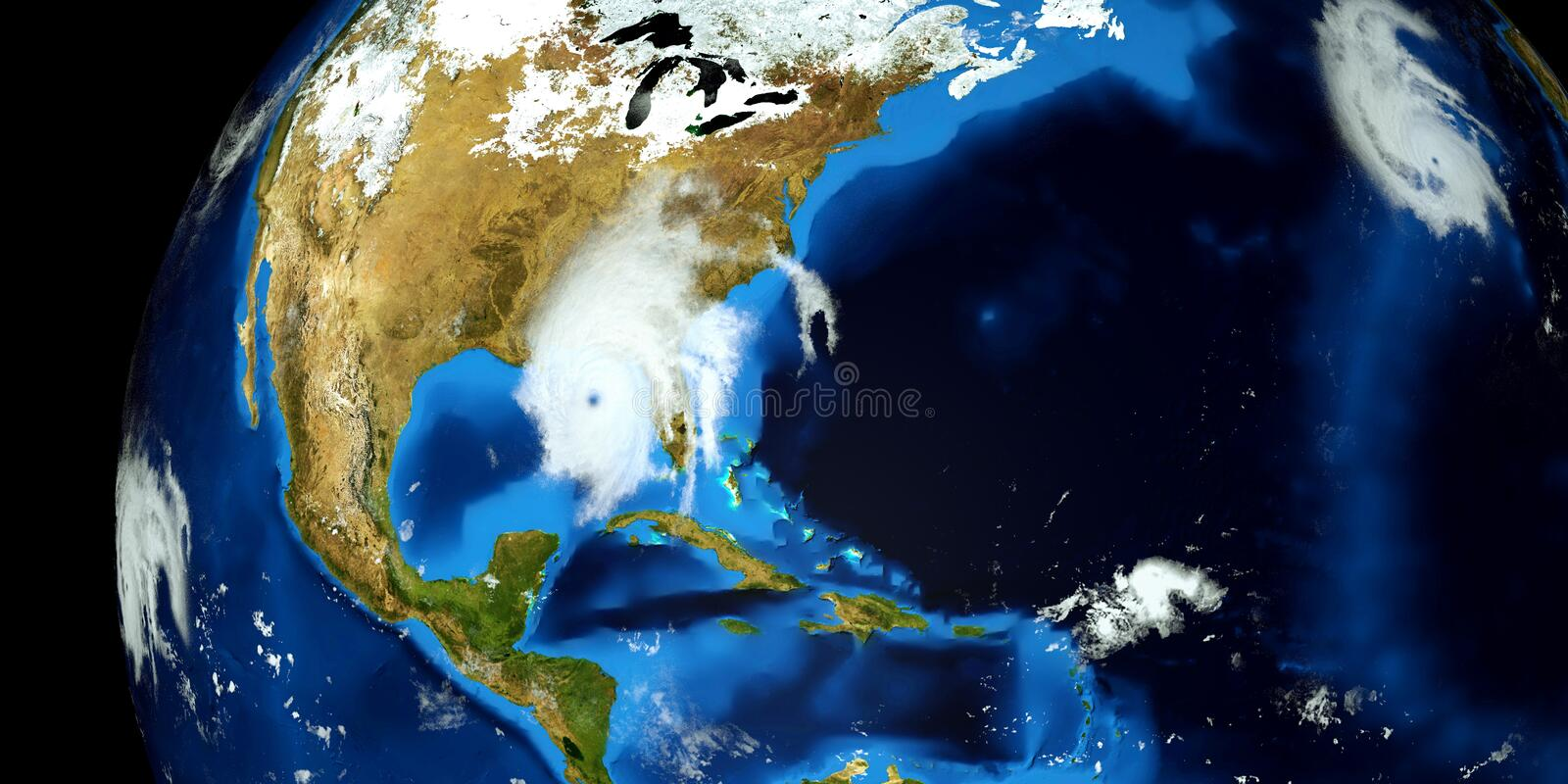Extremely detailed and realistic high resolution 3D illustration of a Hurricane. Shot from Space. Elements of this image are furni. Extremely detailed and royalty free stock images