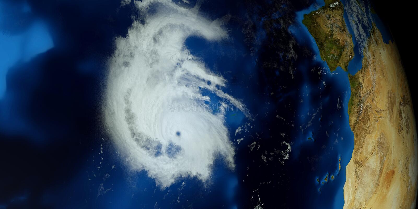 Extremely detailed and realistic high resolution 3D illustration of a Hurricane. Shot from Space. Elements of this image are furni. Extremely detailed and stock photography
