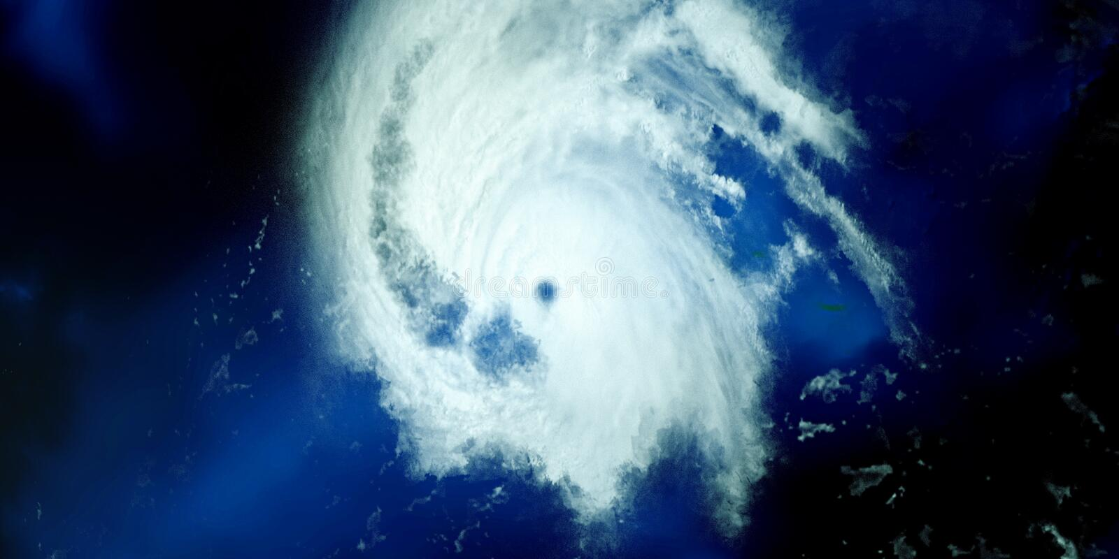 Extremely detailed and realistic high resolution 3D illustration of a Hurricane. Shot from Space. Elements of this image are furni. Extremely detailed and stock photo