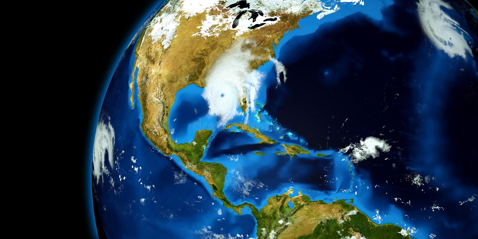 Extremely detailed and realistic high resolution 3D illustration of a Hurricane. Shot from Space. Elements of this image are furni. Extremely detailed and royalty free stock photography