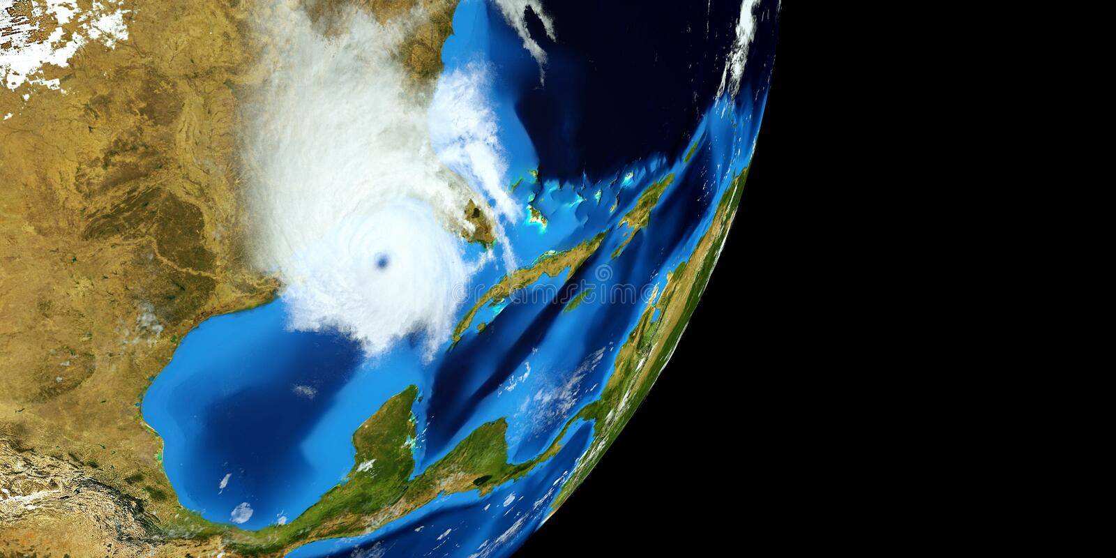 Extremely detailed and realistic high resolution 3D illustration of a Hurricane. Shot from Space. Elements of this image are furni. Extremely detailed and royalty free stock image