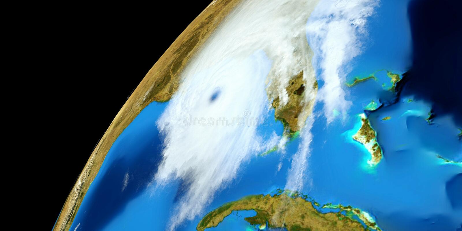 Extremely detailed and realistic high resolution 3D illustration of a Hurricane. Shot from Space. Elements of this image are furni. Extremely detailed and stock image