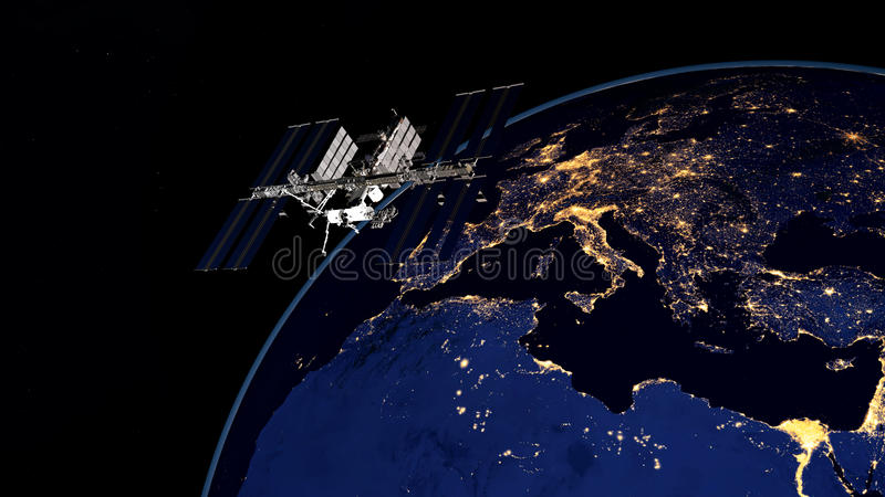 Extremely detailed and realistic high resolution 3D image of ISS - International Space Station orbiting Earth. Shot from space. Extremely detailed and realistic royalty free stock photos