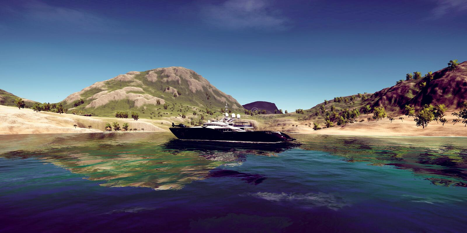 Extremely detailed and realistic high resolution 3D illustration of a luxury Super Yacht at a tropical Island. Extremely detailed and realistic high resolution royalty free stock photo