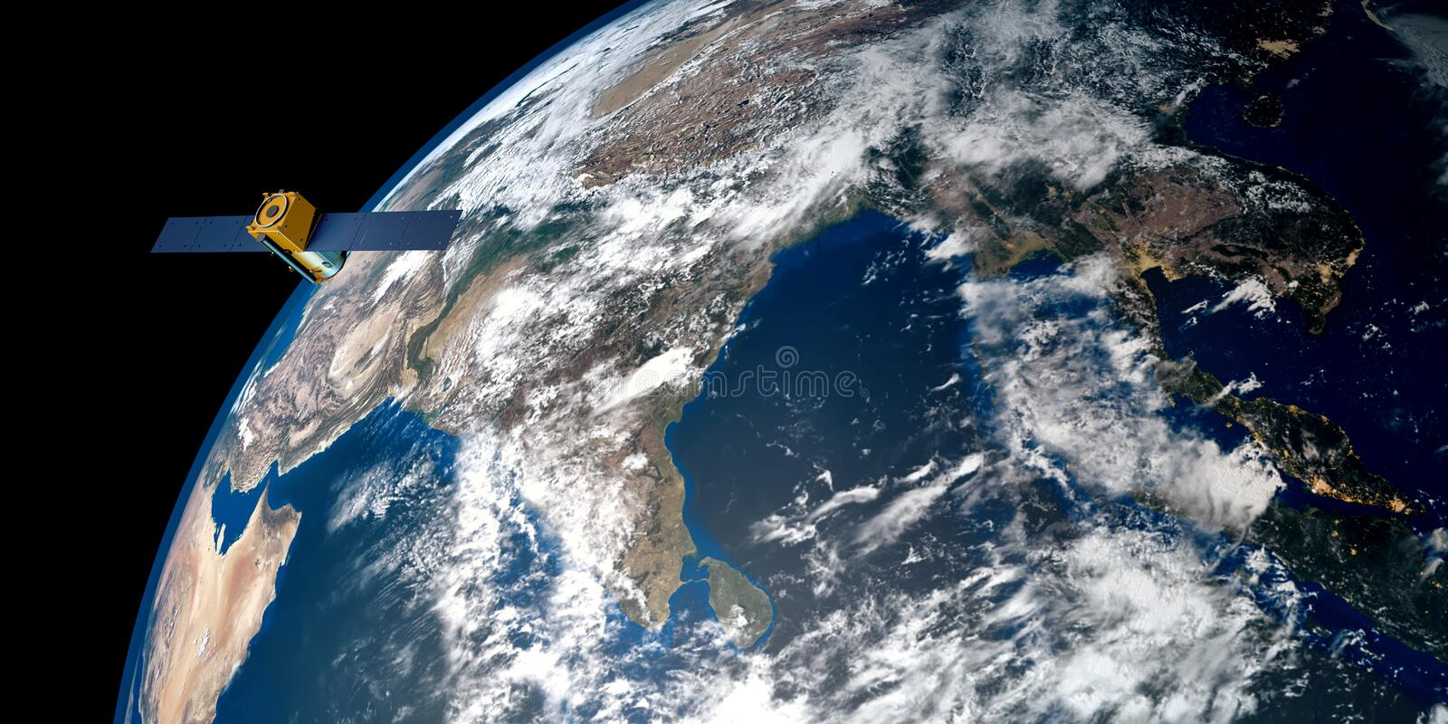 Extremely detailed and realistic high resolution 3D image of a satellite orbiting Earth. Shot from space. Elements of this image are furnished by NASA stock images