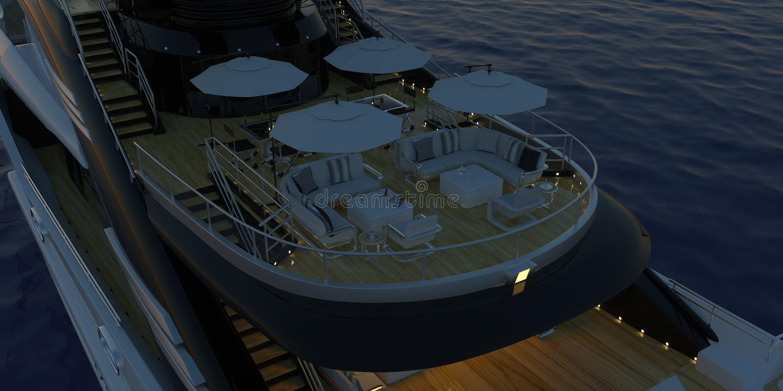 Extremely detailed and realistic high resolution 3D image of a Super Yacht approaching a tropical Island with palms - Illustration. Extremely detailed and royalty free stock images