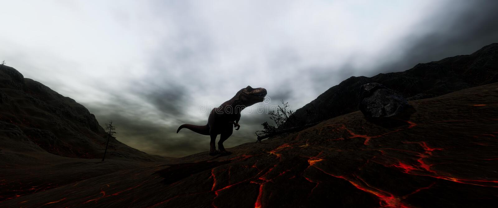 Extremely detailed and realistic high resolution 3d illustratation of a T-Rex Dinosaur during the Dinosaurs Extinction. Extremely detailed and realistic high stock illustration
