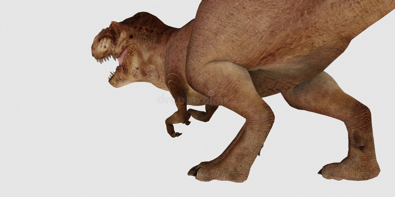Extremely detailed and realistic high resolution 3d illustration of a T-Rex Dinosaur isolated on white Background. Extremely detailed and realistic high stock illustration