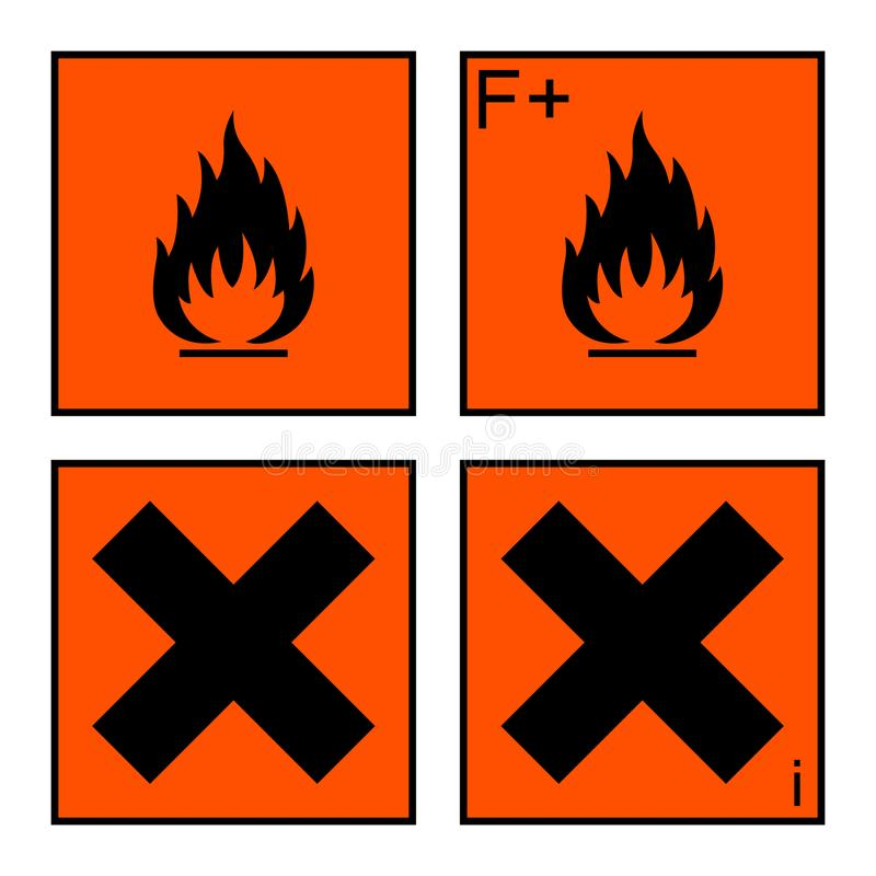 Free Extremely Flammable And Harmful Sign Set Stock Photography - 110724882