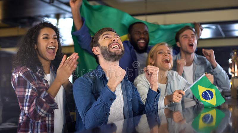 Extremely happy sport fans waving Brazil flag in support of national team stock image