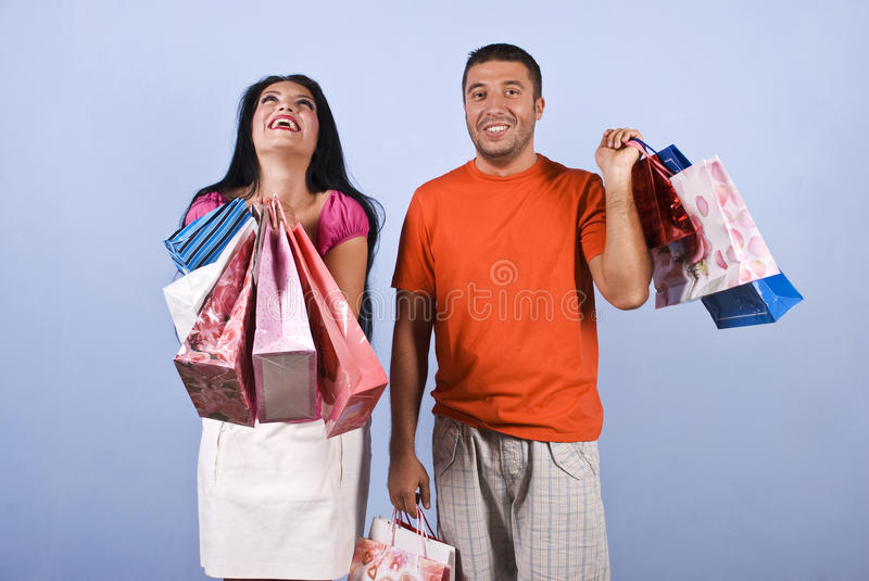 Extremely happy woman at shopping royalty free stock images