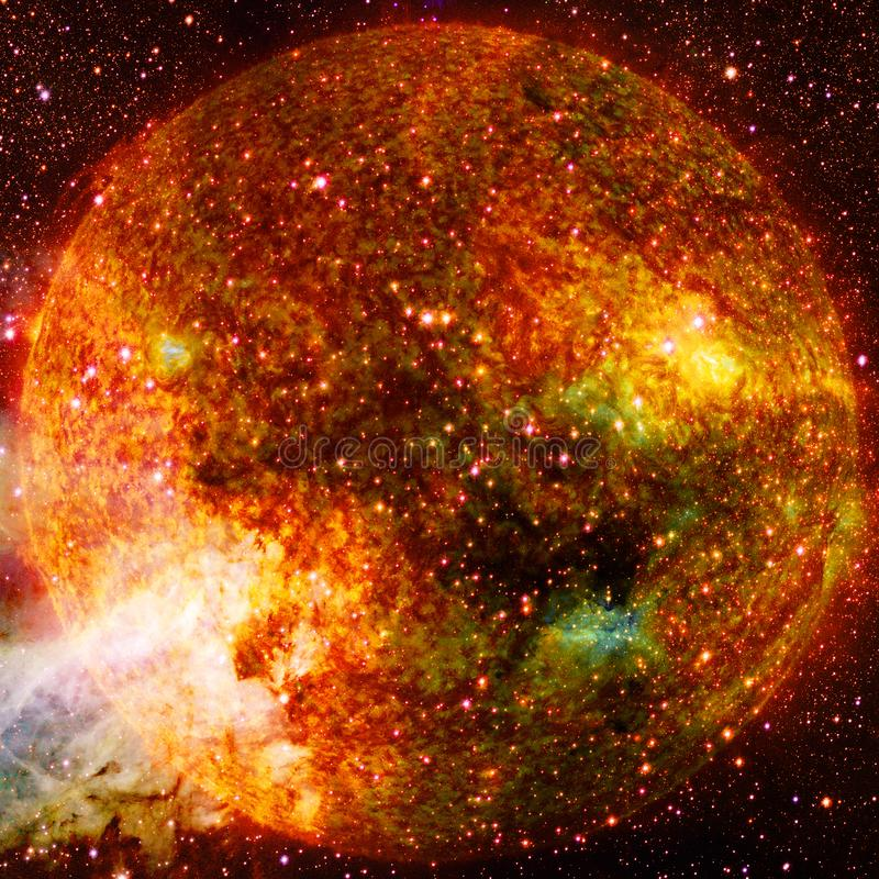 Extremely hot star. Flaring of Sun. Elements of this image furnished by NASA. Extremely hot star. Flaring of Sun. Beauty of endless universe. Elements of this stock images