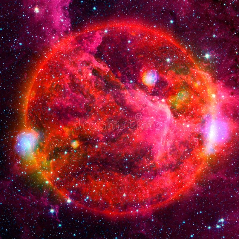 Extremely hot star. Flaring of Sun. Elements of this image furnished by NASA. Extremely hot star. Flaring of Sun. Beauty of endless universe. Elements of this stock photos