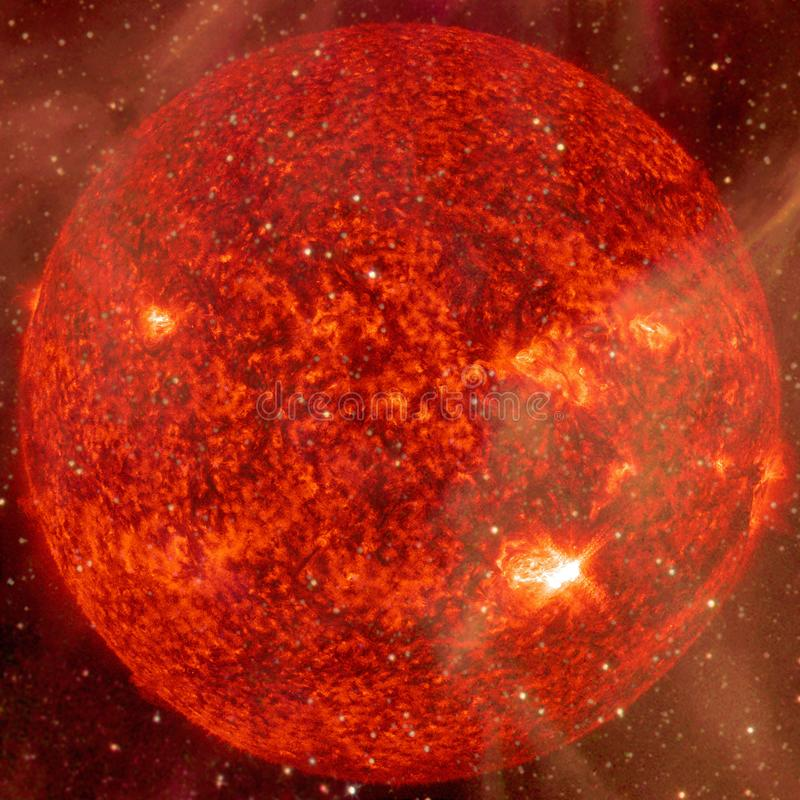 Extremely hot star. Flaring of Sun. Elements of this image furnished by NASA. Extremely hot star. Flaring of Sun. Beauty of endless universe. Elements of this stock photo