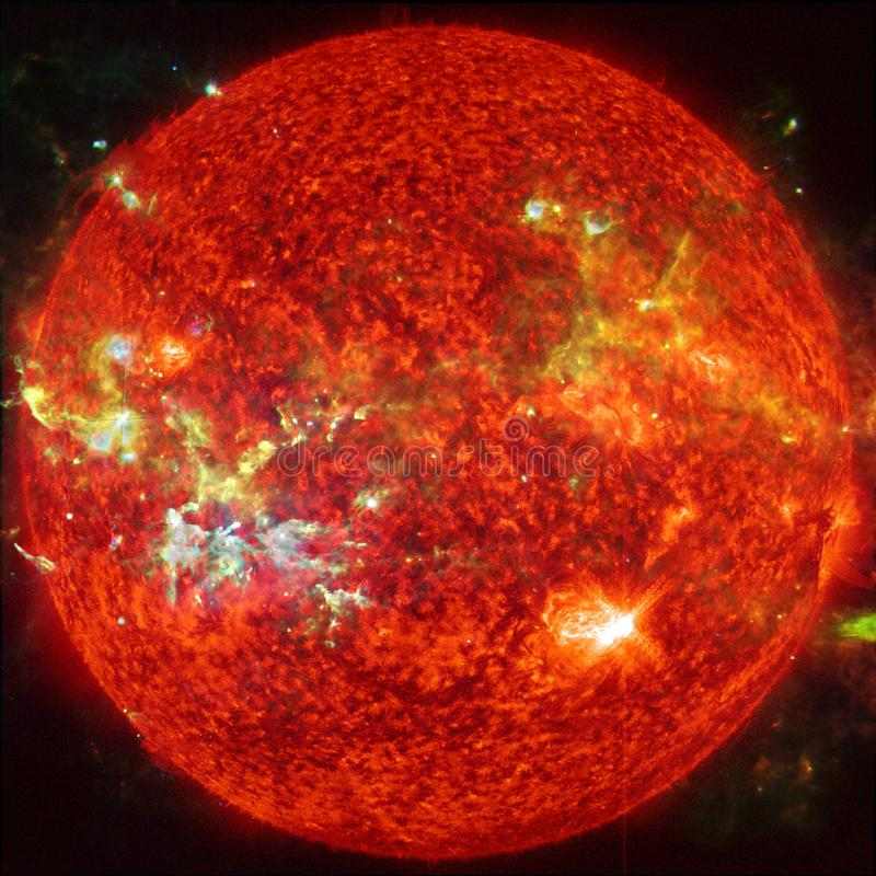 Extremely hot star. Flaring of Sun. Elements of this image furnished by NASA. Extremely hot star. Flaring of Sun. Beauty of endless universe. Elements of this vector illustration