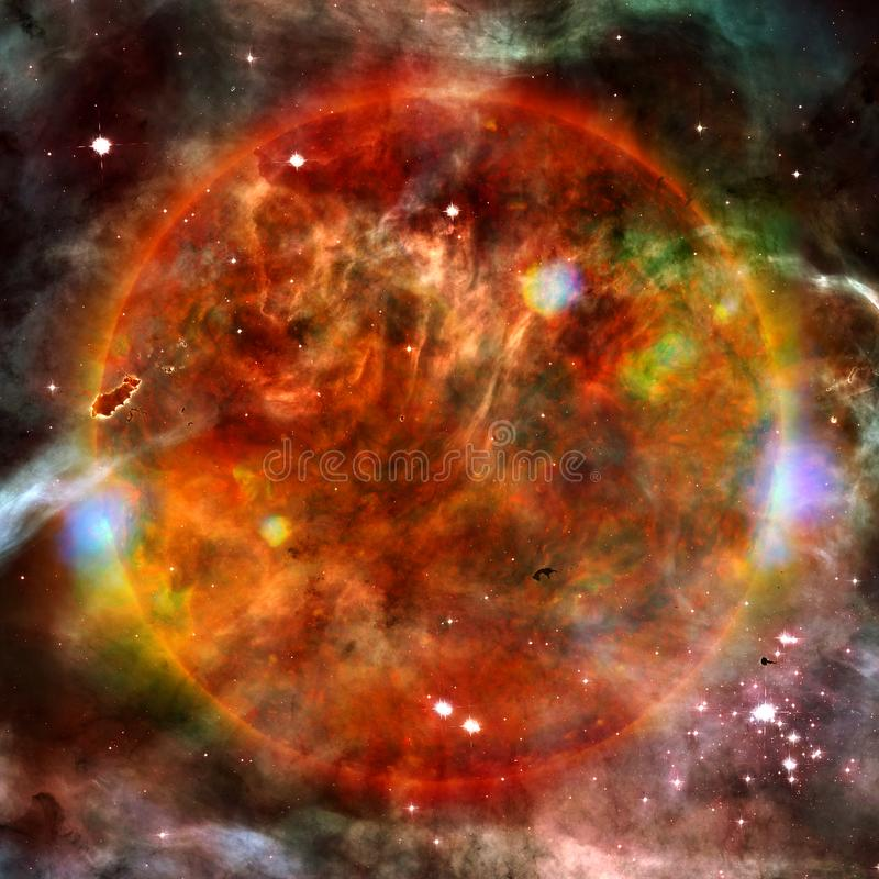 Extremely hot star. Flaring of Sun. Elements of this image furnished by NASA. Extremely hot star. Flaring of Sun. Beauty of endless universe. Elements of this stock illustration