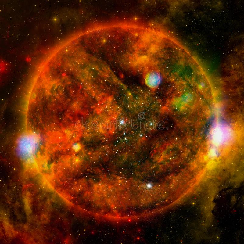 Extremely hot star. Flaring of Sun. Elements of this image furnished by NASA. Extremely hot star. Flaring of Sun. Beauty of endless universe. Elements of this royalty free stock photography