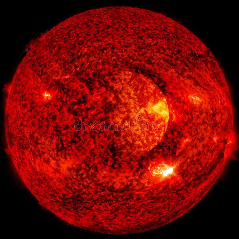 Extremely hot star. Flaring of Sun. Elements of this image furnished by NASA. Extremely hot star. Flaring of Sun. Beauty of endless universe. Elements of this royalty free illustration