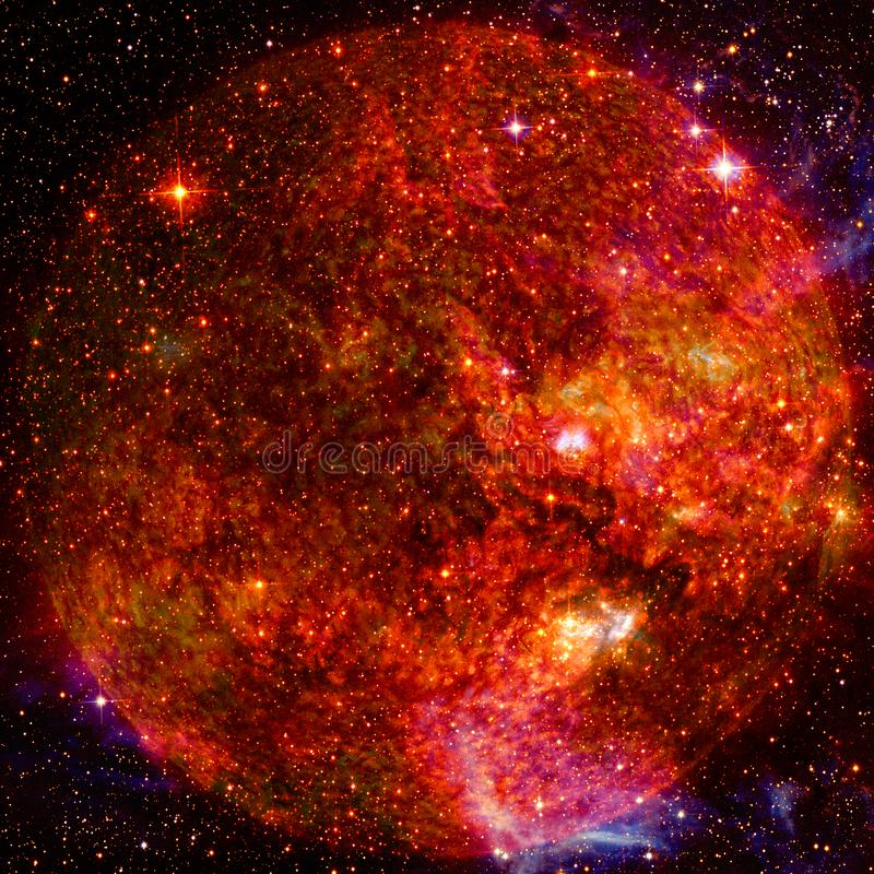 Extremely hot star. Flaring of Sun. Elements of this image furnished by NASA. Extremely hot star. Flaring of Sun. Beauty of endless universe. Elements of this royalty free stock image